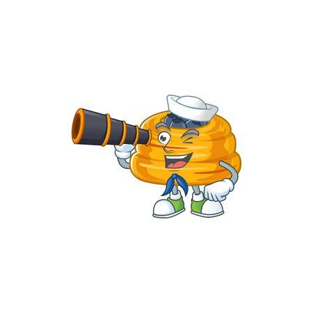 Kataifi in Sailor cartoon character design with binocular. Vector illustration