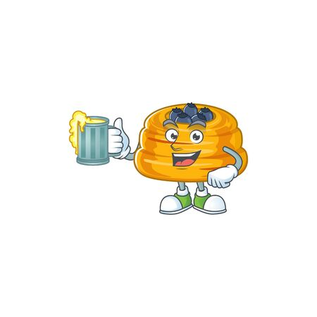 A cartoon concept of kataifi with a glass of beer. Vector illustration