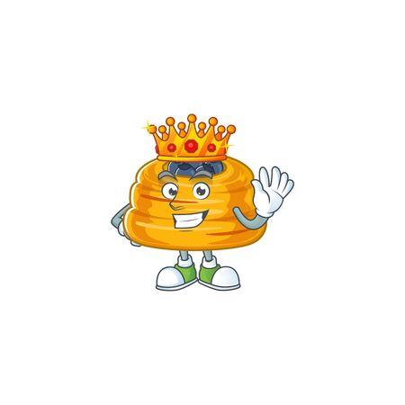 A Charismatic King of kataifi cartoon character design