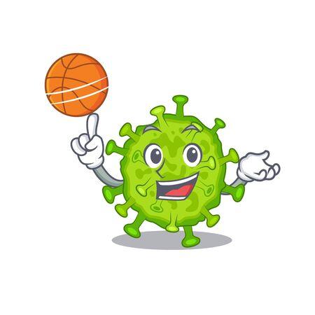 A sporty virus corona cell cartoon mascot design playing basketball. Vector illustration  イラスト・ベクター素材
