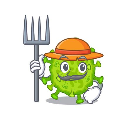 Virus corona cell in Farmer cartoon character with hat and pitchfork. Vector illustration