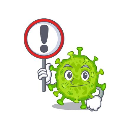 Cheerful cartoon style of virus corona cell holding a sign