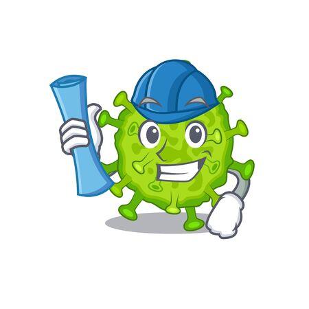 Smiling Architect of virus corona cell having blue prints and blue helmet