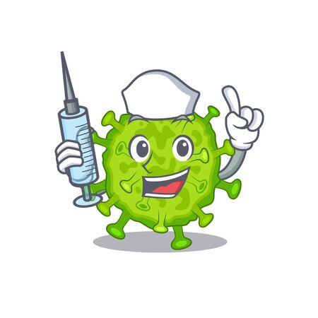 Friendly nurse of virus corona cell mascot design holding syringe