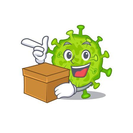 Virus corona cell cartoon design style having a box