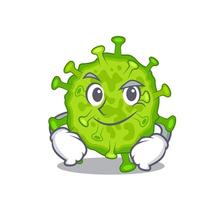 Funny virus corona cell mascot character showing confident gesture