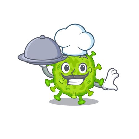 Virus corona cell as a chef cartoon character with food on tray