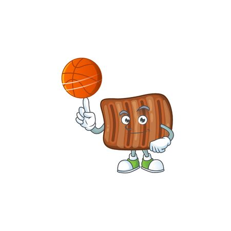 Attractive roasted beef cartoon design with basketball