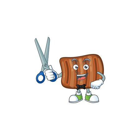 Cool Barber roasted beef mascot design style