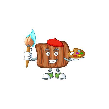 An artistic roasted beef artist cartoon design using a brush