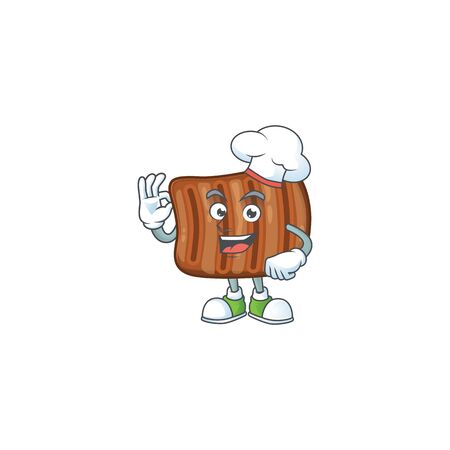 A picture of roasted beef cartoon character wearing white chef hat