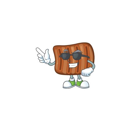 Cute roasted beef cartoon character design style with black glasses