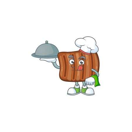 chef cartoon character of roasted beef with food on tray