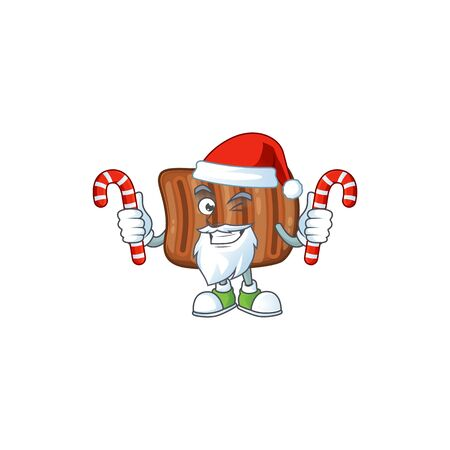 Friendly roasted beef in Santa Cartoon character with candies