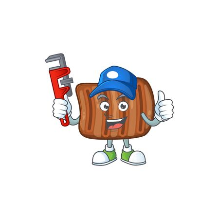 Smart Plumber worker of roasted beef cartoon character design