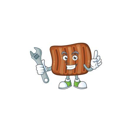mascot design concept of roasted beef mechanic Ilustração