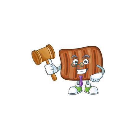 Roasted beef wise judge cartoon character design with cute glasses