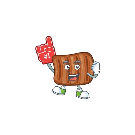 Roasted beef presented in cartoon character design with Foam finger Ilustração