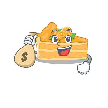 Smiley rich cheesecake orange cartoon character bring money bags. Vector illustration