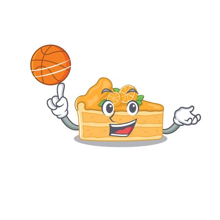 A sporty cheesecake orange cartoon mascot design playing basketball. Vector illustration Ilustracja