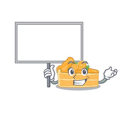 Cheesecake orange cute cartoon character bring a board. Vector illustration Ilustracja