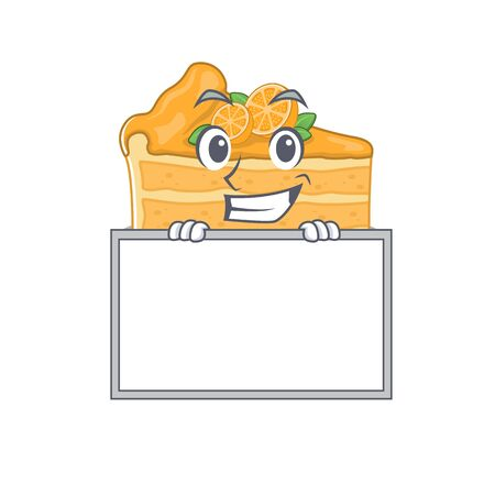 Smiley cheesecake orange cartoon character style bring board. Vector illustration