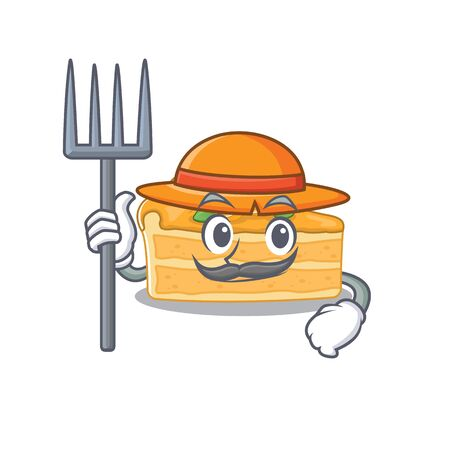 Cheesecake orange in Farmer cartoon character with hat and pitchfork. Vector illustration Ilustracja