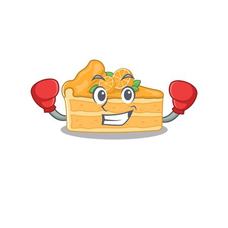 A sporty cheesecake orange boxing mascot design style. Vector illustration Ilustracja