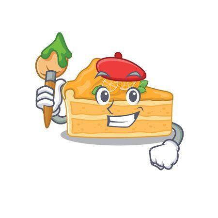 Talented cheesecake orange Artist cartoon character with brush. Vector illustration Ilustração Vetorial