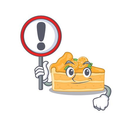 Cheerful cartoon style of cheesecake orange holding a sign. Vector illustration