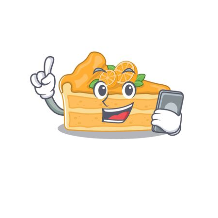 Mascot design of cheesecake orange speaking on phone. Vector illustration
