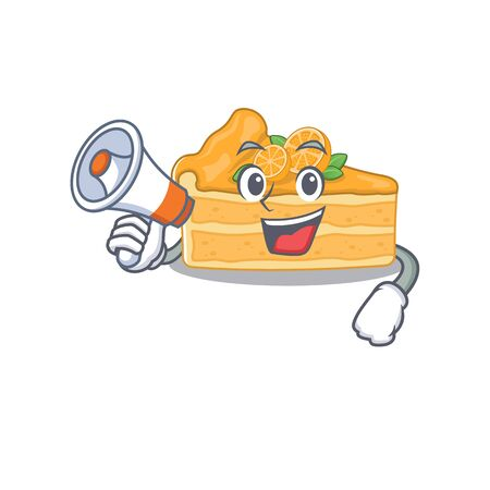 An icon of cheesecake orange holding a megaphone. Vector illustration Ilustracja