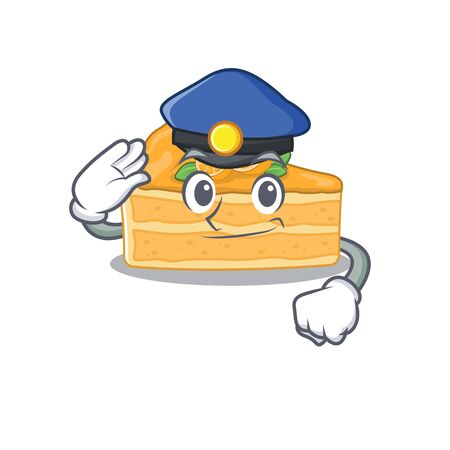 A picture of cheesecake orange performed as a Police officer. Vector illustration