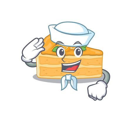 Cute cheesecake orange Sailor cartoon character wearing white hat. Vector illustration Ilustracja