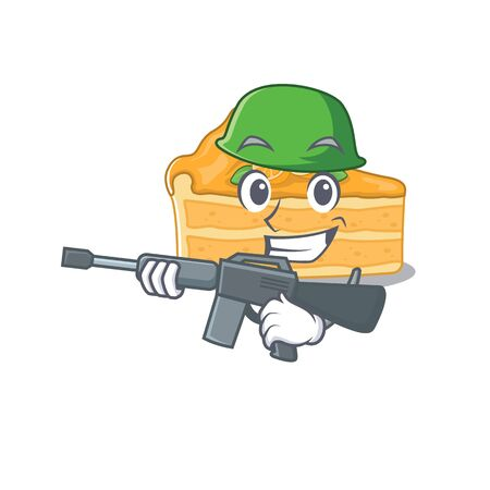 A picture of cheesecake orange as an Army with machine gun. Vector illustration