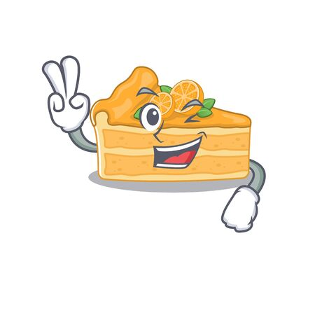 Cheerful cheesecake orange mascot design with two fingers. Vector illustration