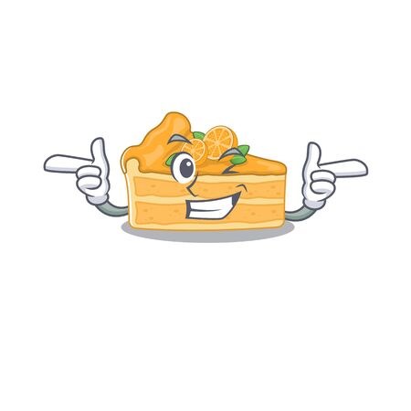Smiley cheesecake orange cartoon design style showing wink eye. Vector illustration Ilustracja