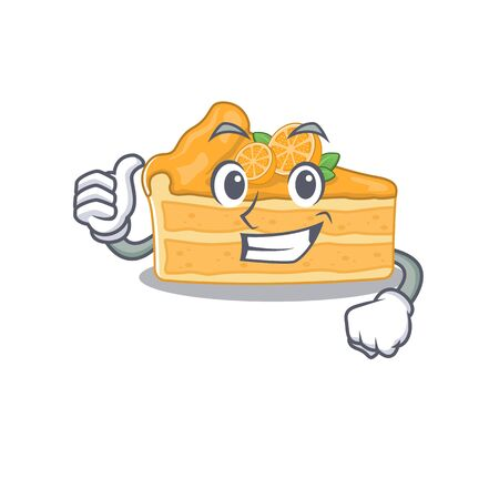 Cool cheesecake orange cartoon design style making Thumbs up gesture. Vector illustration Ilustracja