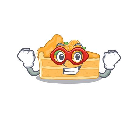 A picture of cheesecake orange in a Super hero cartoon character. Vector illustration Ilustracja