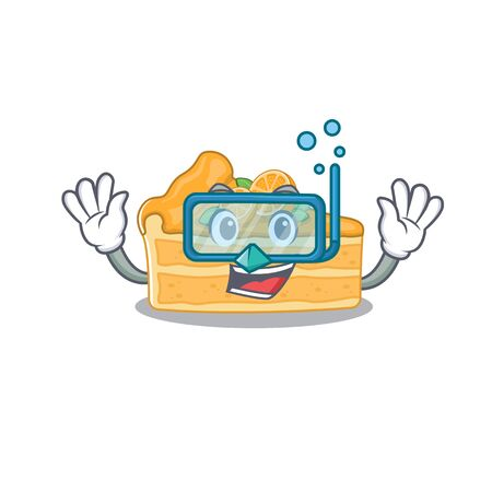 A cartoon picture featuring cheesecake orange wearing Diving glasses. Vector illustration Ilustracja