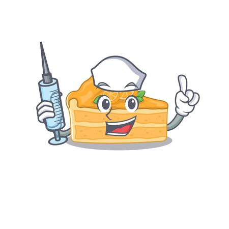 Friendly nurse of cheesecake orange mascot design holding syringe. Vector illustration