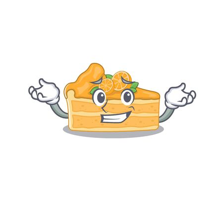 Happy face of cheesecake orange mascot cartoon style. Vector illustration