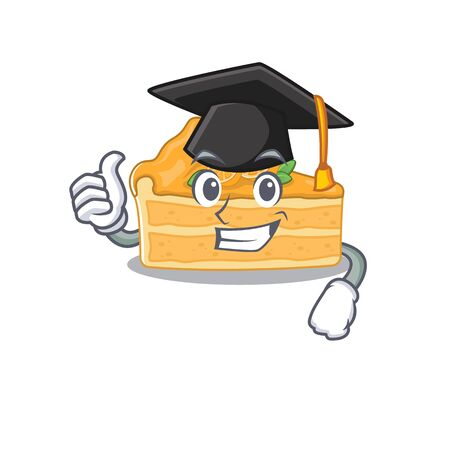 A picture of cheesecake orange with black hat for graduation ceremony. Vector illustration