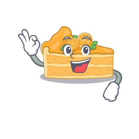 Cheesecake orange cartoon character design style making an Okay gesture. Vector illustration