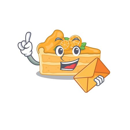 Cute face cheesecake orange mascot design with envelope. Vector illustration