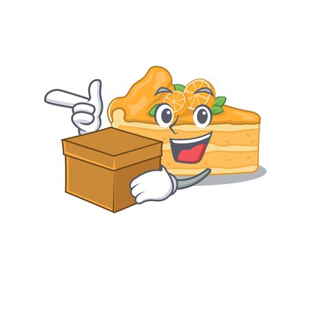 cheesecake orange cartoon design style having a box. Vector illustration