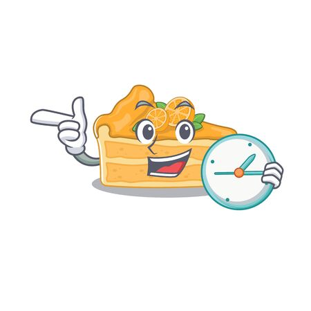 Cheerful cheesecake orange cartoon character style with clock. Vector illustration Ilustracja