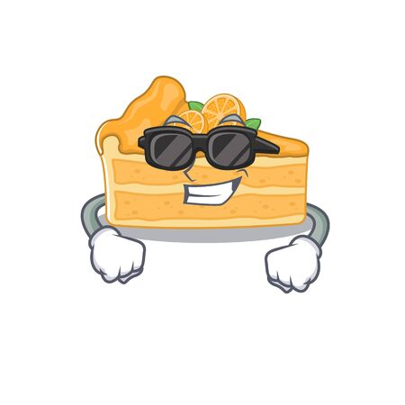 Super cool cheesecake orange mascot character wearing black glasses. Vector illustration