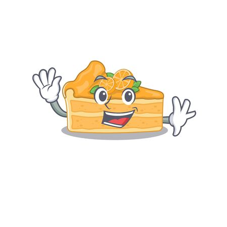 Smiley cheesecake orange cartoon mascot design with waving hand. Vector illustration