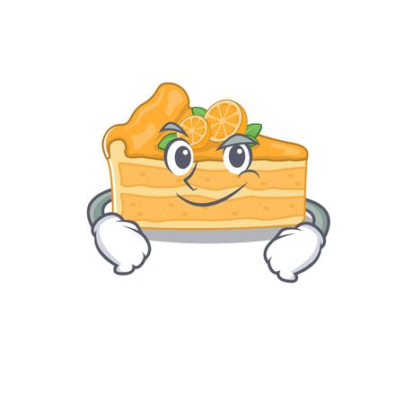 Funny cheesecake orange mascot character showing confident gesture. Vector illustration